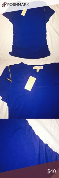 Michael Kors Zip Shoulder T-Shirt With Rushing Beautiful blue MK t-shirt. Tags still attached. Zips over the shoulders. Rushing on the sides. Super slimming! MICHAEL Michael Kors Tops Tees - Short Sleeve