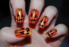 glänzend Orange-Nägel-Halloween-grinsende Kürbis Fratzen