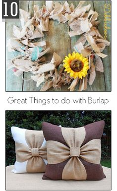 10 Great Things to do with Burlap- fun DIY and craft projects with burlap- Cute pillow ideas, banners, wreaths and more burlap craft projects! diy and crafts projects Burlap Projects, Burlap Crafts, Diy Projects To Try, Fabric Crafts, Sewing Crafts, Craft Projects, Burlap Decorations, Burlap Wreath, Craft Ideas