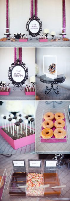 love the donut station...toppings and everything..fun Brunch or breakfast idea