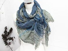 Blue gray men scarf Blue Men scarf Striped men by Nazcolleccolors