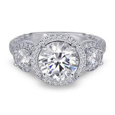 Diamonvita Couture® 5 3/4 ct. tw. White Three Stone Swarovski Zirconia Ring in Sterling Silver