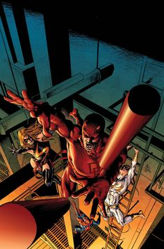 Marvel, Daredevil, Spider-Man and Iron Fist (by: Mike Deodato, Jr. Comic Book Artists, Comic Book Characters, Marvel Characters, Comic Books Art, Comic Art, Daredevil Artwork, Daredevil Elektra, Marvel Comics Art, Marvel Heroes