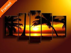 Sunrise natural scenery oil painting high quality art painting for living room popular 5 piece canvas art for friends