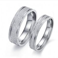 Simple Design Titanium Steel Promise Ring for Couples with Matting Surface