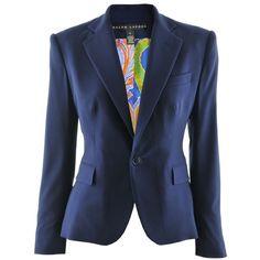 Ralph Lauren Navy Blazer Dabney (199.600 RUB) ❤ liked on Polyvore featuring  outerwear, jackets, blazers, coats, tops, blue blazer, blazer jacket, ... 115601b088