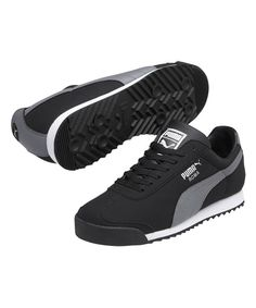 Look at this PUMA Black & Steel Gray Roma Blocks Leather Sneaker on #zulily today!
