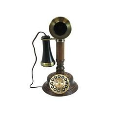 Golden Eagle Corded Faux Wood Candlestick Telephone Replication