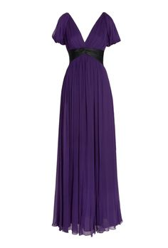 Love this violet hue! Chiffon V neck gown / Notte by Marchesa