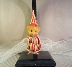 Vintage red and white striped peppermint knee hugger elf Christmas tree ornament 1950s by GroovyDoozyVintage on Etsy
