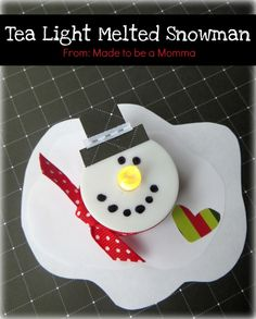 Tea Light Melted Snowman Made to be a Momma