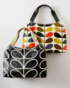 Iconic prints are second nature for Orla Kiely, and these new entries are two of our favorites. The urban-minded bag has storage galore with an outside pocket (hello, phone); inside sidewall; and zippered pockets with a key-chain holder. What a hoot!Orla KielyLaminated cotton canvas with Italian leather trim12 H x 15 1/2 W x 4 D18 3/4 strapSilver-tone hardwareImported