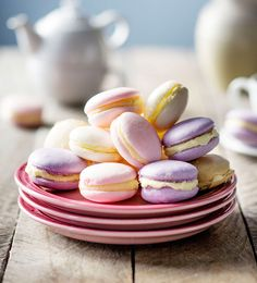 Don't be intimidated: these delicate and divinely pretty treats are really just glorified meringues… with the addition of ground almonds and just a hint of food colouring. Sandwich the cooled meringues with vanilla butter icing and arrange on a beautiful platter for maximum effect.
