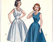 1950s Date Night Sweetheart Neckline Rockabilly Sleeveless Full Skirt Dress Susie Stephens Vintage Sewing Pattern Butterick 6879 Bust 31