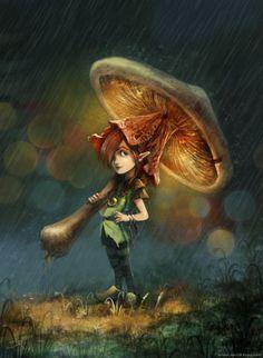 pixie girl mushroom umbrella cute fairy tale creature fantasy illustration art picture