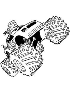 Famous Monster Truck Bigfoot Coloring Page - Free Coloring Pages Online Printable Coloring, Coloring Pages For Kids, Monster Truck Jam, Free Racing, Monster Truck Coloring Pages, Page Online, Famous Monsters, Bigfoot, Colouring