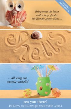 Bring home the beach with a bevy of cute, kid-friendly project ideas… all using our versatile seashells!