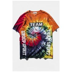 Spiral Tie-Dye Letter Print Short Sleeve Loose Tee ($33) ❤ liked on Polyvore featuring tops, t-shirts, cotton tee, tie dye tee, graphic design t shirts, tye dye t shirts and short sleeve graphic tees