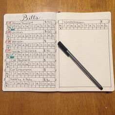 bullet journal bills tracker