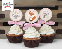 Woodland Baby Shower Cupcake Toppers // INSTANT DOWNLOAD // Favor Tags // Woodland Shower Decor // Pink Baby Girl // Digital Printable DIY on Etsy, $6.51