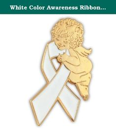 """White Color Awareness Ribbon Religious Spiritual Angel Pin 1"""". White Ribbon with Angel Lapel Pin. This angel awareness pin is of die struck brass, has hand applied white enamel color fill and is plated in gold. The white ribbon is commonly used for Bone Cancer, Lung Cancer, Osteoporosis, Hernia, Helen Keller Deaf Blind Awareness Week, World Blindness, Free Speech, Cataract, Teen Pregnancy and Adoption Causes (among others). Each pin includes a clutch back and is individually poly bagged."""