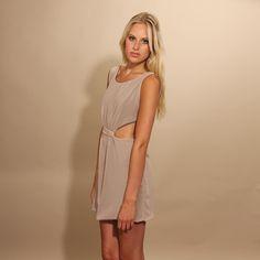 Beige Zip Back Cutout Dress