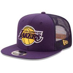 023da83578647 Men s New Era Purple Los Angeles Lakers Trucker Patched Snapback 9FIFTY Adjustable  Hat