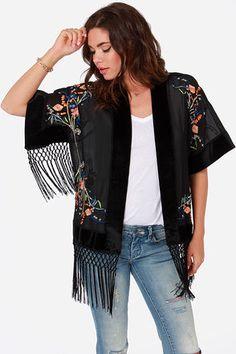 Forest Fleur Black Kimono Top