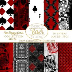 Red and Black Poker Night Digital Scrapbook Paper. The benefit of purchasing digital backgrounds and digital clip art is the ability of using the purchase over and over again. Purchase once, download onto your computer or tablet and you are ready to go! Use the images for your wedding, personalized family cards, baby showers, holidays and anniversaries. Create your own brand!