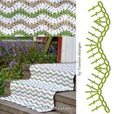 Virkattu matto Zig Zag Crochet, Crochet Ripple Blanket, Crochet Stitches, Crochet Patterns, Crochet Rugs, Knit Rug, Crochet Carpet, Crochet Afgans, Crochet Diagram