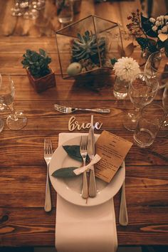 Place Setting - Story + Colour Photography | Two Part Wedding with Humanist Ceremony at The Worx London | Gold Wedding Dress | Forest Green Ghost Bridesmaid Dresses | Autumnal Flowers | Geometric Terrarium Decor