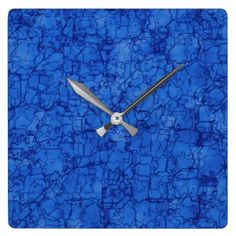Abstract Cracked Plain Gradient Blue Square Wall Clock  $33.50  by redfox3d  - custom gift idea