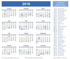 Download a free Printable 2018 Holiday Calendar from Vertex42.com