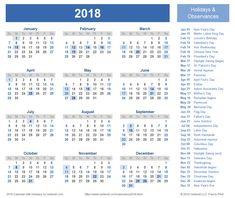 Download a free Printable 2018 Holiday Calendar from Vertex42.com