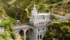 Visit the Santuario de Las Lajas in Colombia. The stunning church was built on a stone bridge 150 feet above a deep gorge at the village of Las Lajas. Best Places To Travel, Places To Visit, Places Around The World, Around The Worlds, Visit Colombia, Cali Colombia, Place Of Worship, Westminster, Architecture