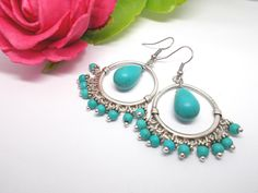 Turquoise Earrings, Boho Chic Gypsy Tribal Earrings by XtraClaire on Etsy