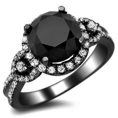 3.45ct Black Round Diamond Engagement Ring 14k Black Gold