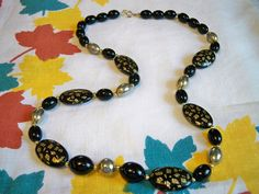 Vintage Black Gold Japanese Beaded Necklace Halloween Colors by BlackRain4 on Etsy, $14.99
