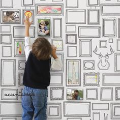 Frames Peel & Stick Fabric Wallpaper Repositionable by AccentuWall, $35.00