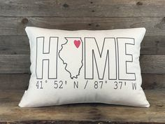 Home Coordinates State Pillow, Custom Pillow, Housewarming Gift, Home Pillow, Personalized Gift, Graduation Gift, Dorm Decor, Throw Pillow