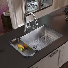 Vigo All In One 30 Inch Mercer Stainless Steel Undermount Kitchen Sink Set With Aylesbury Faucet In Stainless Steel, Colander, Grid, Strainer And Soap Best Kitchen Sinks, Single Bowl Kitchen Sink, Kitchen Sink Faucets, New Kitchen, Cool Kitchens, Kitchen Ideas, Single Sink, White Kitchens, Kitchen Small