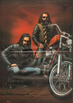 Brothers  David Mann biker art centerfold poster removed from a vintage Easyriders motorcycle magazine, matted as shown, ready to insert into a 16 x 20 frame.  Great vintage motorcycle artwork print to decorate your office, garage, basement, rec room, man cave & more! Makes a great gift!  Size including mat: 16 x 20 Image area: approx. 10 x 15   8909ezrxmc