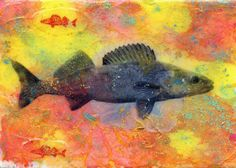 """""""Walleye Willy"""" by Edward Bock, Minneapolis, MN // An acrylic painting with powdered pigments and printed walleye images on acrylic skin.  I have been making art using memories and feelings from dreams and my life and childhood.  Turtles, fish and other natural images continue to inspire me.  As a 12 year old I used to wade ... // Imagekind.com -- Buy stunning fine art prints, framed prints and canvas prints directly from independent working artists and photographers."""
