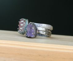 Raw gemstone and sterling stacking rings - sterling silver, raw amethyst, raw spinel