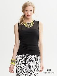 love this top!!  Wear to work all the time!! BR Monogram Sheer Panel Top   Banana Republic