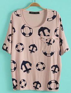 Pink Batwing Sleeve Anchor Lifebuoy Print T-Shirt #SheInside