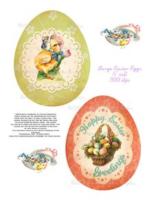 Easter Egg Vintage Label Digital Download by chocolaterabbit