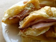 Croissants with shaved ham, Swiss cheese, and Dijon mustard. My aunt made these for breakfast last time we visited and they were SO good.