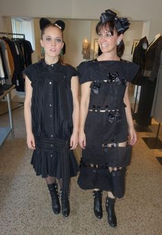 Comme des Garcon and Sacai black dresses from Sloan/Hall
