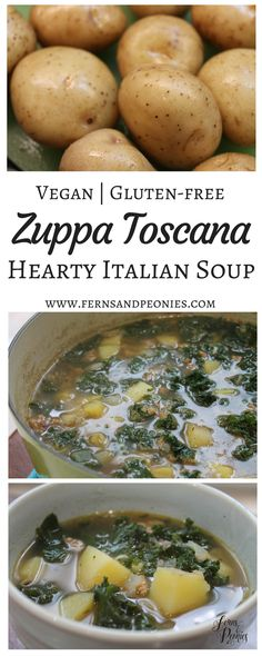 Vegan and Gluten-free Zuppa Toscana—Hearty Italian Soup by www.fernsandpeonies.com